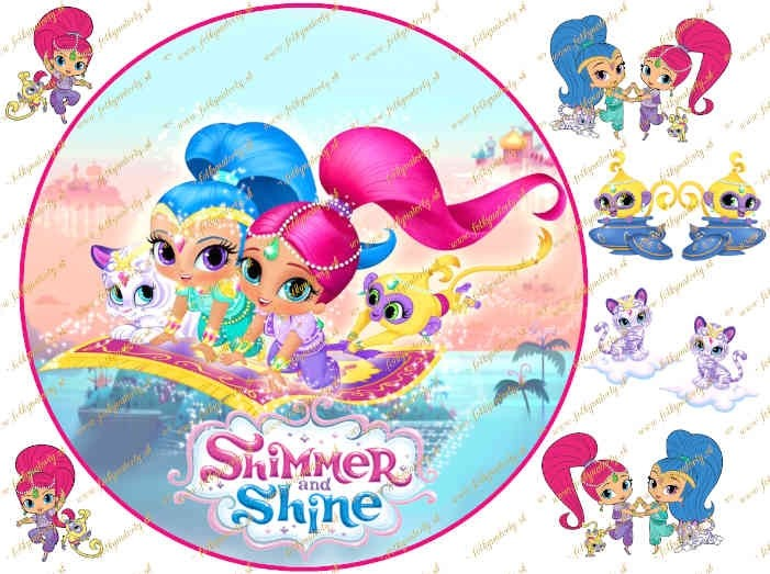 Jedlý okrúhly obrázok na tortu Shimmer and Shine