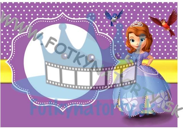 Princezná Sofia Fotorámik - jedlý obrázok/ oblátka na tortu / Fotky na torty