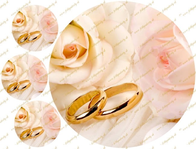 Jedlý obrázok na svadobnú tortu - kruh