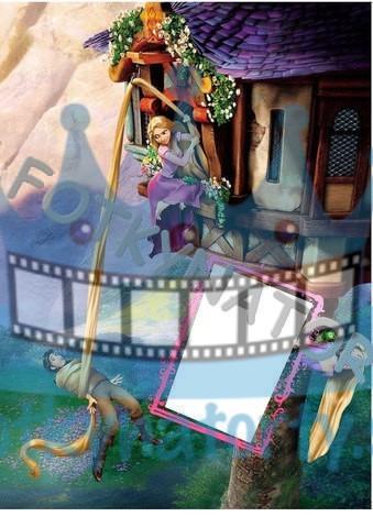 Na vlásku Rapunzel vo veži Fotorámik - jedlý obrázok/ oblátka na tortu / fotky na torty