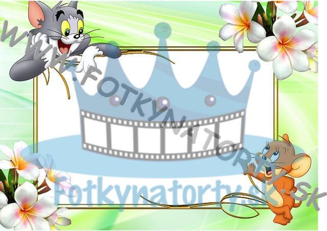 Tom a Jerry Fotorámik - jedlý obrázok/ oblátka na tortu / Fotky na torty