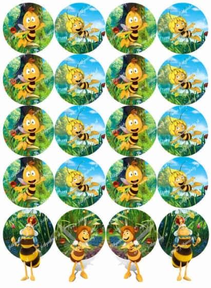 Včielka maja  - Maja, Vilko, Kráľovná na muffinky, medovníčky a cupcakes 20 ks