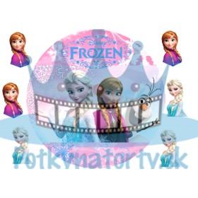 FROZEN - ľadové kráľovstvo - Elsa, Anna, Olaf na ružovom pozadí - okrúhla tortová oblátka / jedlý  tortový obrázok