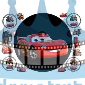 Autíčko McQueen - jedlý obrázok na tortu - kruh s dekoráciami