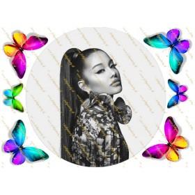 Novinka! Jedlý obrázok na tortu - Ariana Grande - kruh s dekoráciami - pestrofarebné motýle
