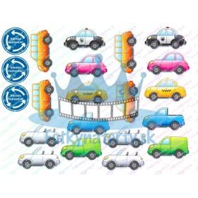 Kreslené farebné autíčka dekorácie na torty, muffiny, cupcakes a medovníčky