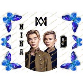 Jedlý okrúhly obrázok - Marcus a Martinus a modré motýle na ozdobenie torty
