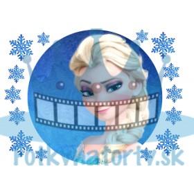 FROZEN - Ľadová Kráľovná Elsa - okrúhly jedlý obrázok/ oblátka na tortu s dekoráciami