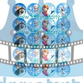 Ľadové kráľovstvo na muffiny - 20 ks - jedlé obrázky na zákusky, medovníčky a iné dobrôtky