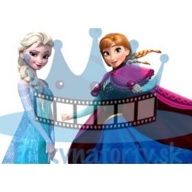 FROZEN - Sestry Elsa a Anna - ľadové kráľovstvo - jedlá tortová oblátka na vystrihnutie a vymodelovanie sukien