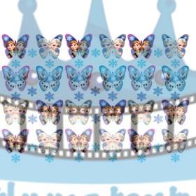 FROZEN - Ľadové kráľovstvo Anna Elsa Olaf motýle jedlé dekorácie na muffiny- 24 ks