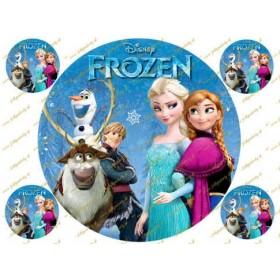 Okrúhly obrázok na torty - Ľadové kráľovstvo Frozen - Anna, Elsa, Olaf, Sven  s dekoráciami na cupcakes alebo iné dobroty