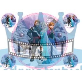FROZEN - ľadové kráľovstvo - Elsa, Anna, Olaf, Sven  jedlá tortová oblátka