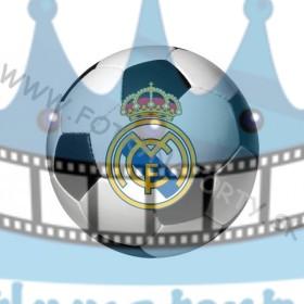 Logo FC Real Madrid vo futbalovej lopte okrúhly jedlý obrázok/ oblátka na tortu
