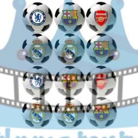 Futbalové lopty s logami futbalových klubov 12 ks - Ø 8 cm - jedlé dekorácie na zákusky, medovníčky a iné dobrôtky