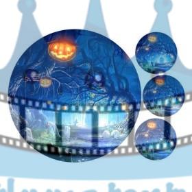 Halloween - Strašidelná farebná noc - jedlý obrázok / oblátka na tortu
