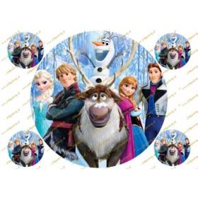 Krásny jedlý obrázok Frozen - Anna, Elsa, Olaf, Sven, ... všetky postavy z rozprávky