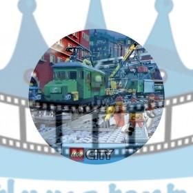 Lego City Vlaková Stanica - jedlý obrázok / oblátka na tortu