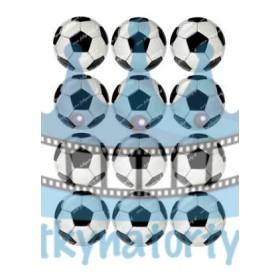 Futbalové lopty 12 ks dekorácie na muffiny, medovníčky a cupcakes