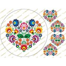 Folklórny motív - srdce na bielom podklade s dekoráciami