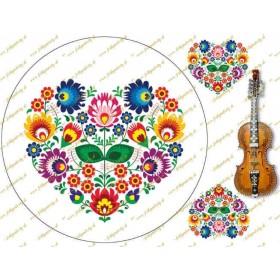 Folklórny motív - srdce na bielom podklade s husličkami