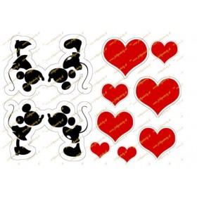 Jedlý obrázok siluety Mickey a Minnie