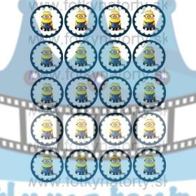 Mimoň / Minion na muffiny - 20 ks - jedlé obrázky na zákusky, medovníčky a iné dobrôtky