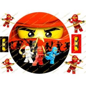 Ninjago okrúhly jedlý obrázok na tortu s dekoráciami