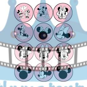 Minnie na muffiny - jedlé obrázky na zákusky, medovníčky a iné dobrôtky - 12 ks