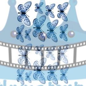 Jedlé obrázky motýle tmavo-modré - dekorácie na muffiny, na tortu, zákusky- 18 ks