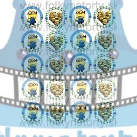 Mimoni / Minions na muffiny - 20 ks - jedlé obrázky na zákusky, medovníčky a iné dobrôtky