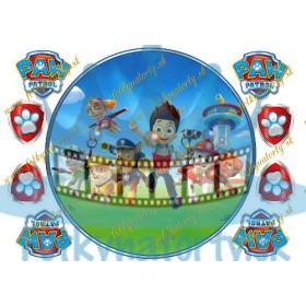 Tlapková patrola Paw Patrol okrúhly jedlý obrázok s dekoráciami na vystrihnutie