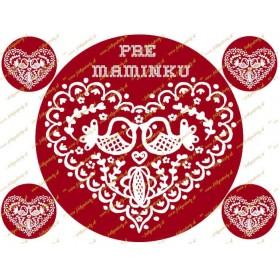 Folklórne červené srdce pre maminku - jedlý obrázok na tortu