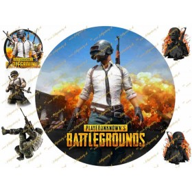 Obrázok na tortu PUBG PlayerUnknowns Battlegrounds - kruh s dekoráciami