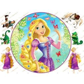 Na vlásku princezná Locika jedlý obrázok na tortu
