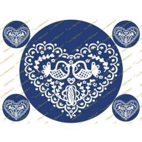 Folklórne modré srdce - jedlý obrázok na tortu