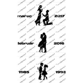 Svadobné jedlé obrázky - pásy so siluetami s dátumami