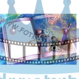 Na vlásku Rapunzel Fotorámik v knihe - jedlý obrázok/ oblátka na tortu