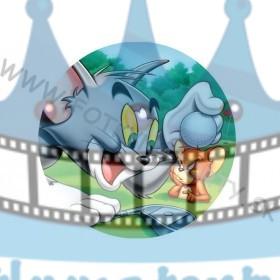 Tom a Jerry Golf okrúhly jedlý obrázok/ oblátka na tortu