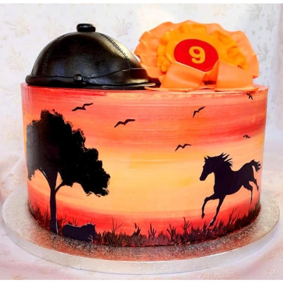 Jedlé čierne siluety na tortu kone a siluety pre poľovníka