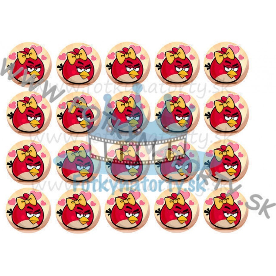 Angry Birds  Stella- 20 ks - jedlé obrázky na zákusky, medovníčky a iné dobrôtky / na tortu / jedlé tortové obrázky / Fotky na Torty