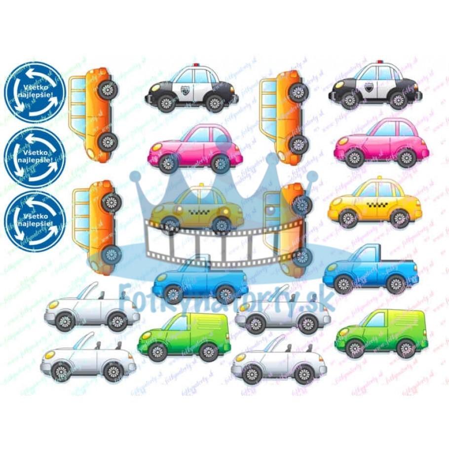Kreslené autíčka dekorácie na torty, muffiny, cupcakes a medovníčky + jedlé dopravné značky