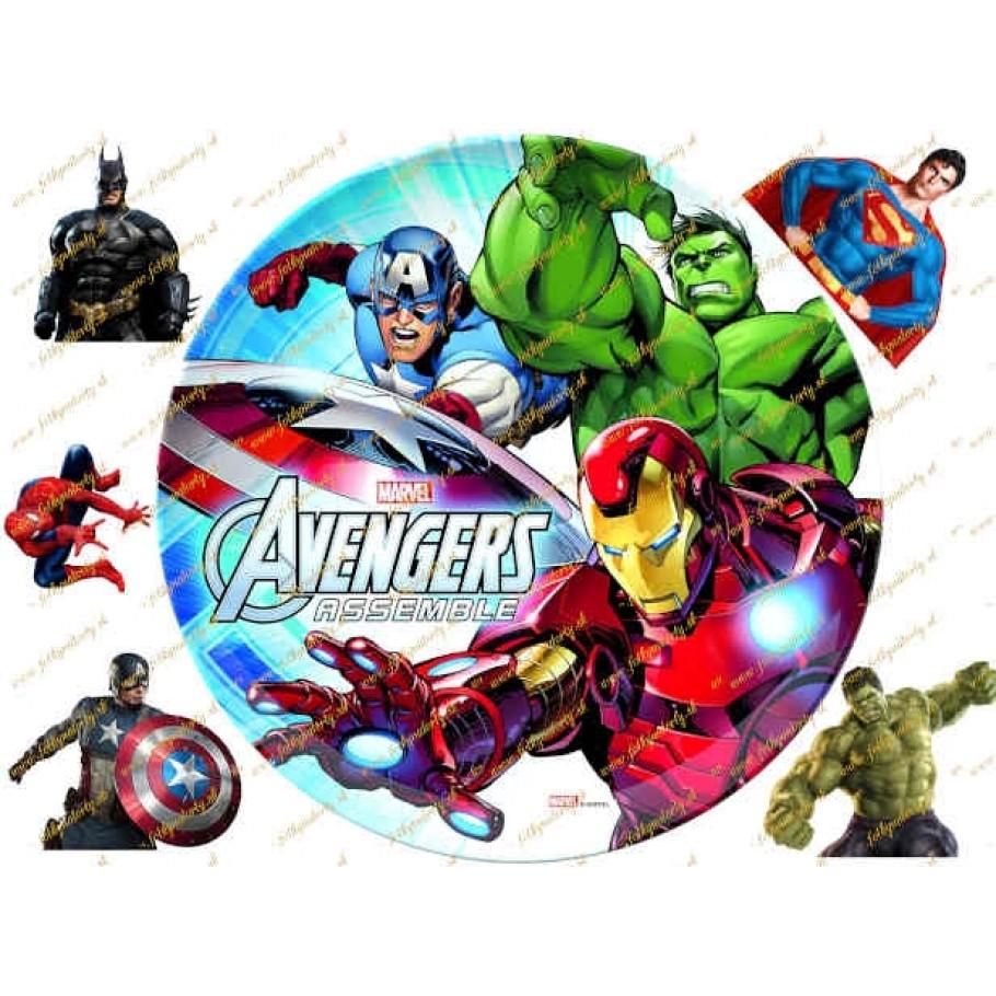 Jedlý obrázok Avengers na tortu s dekoráciami na vystrihnutie