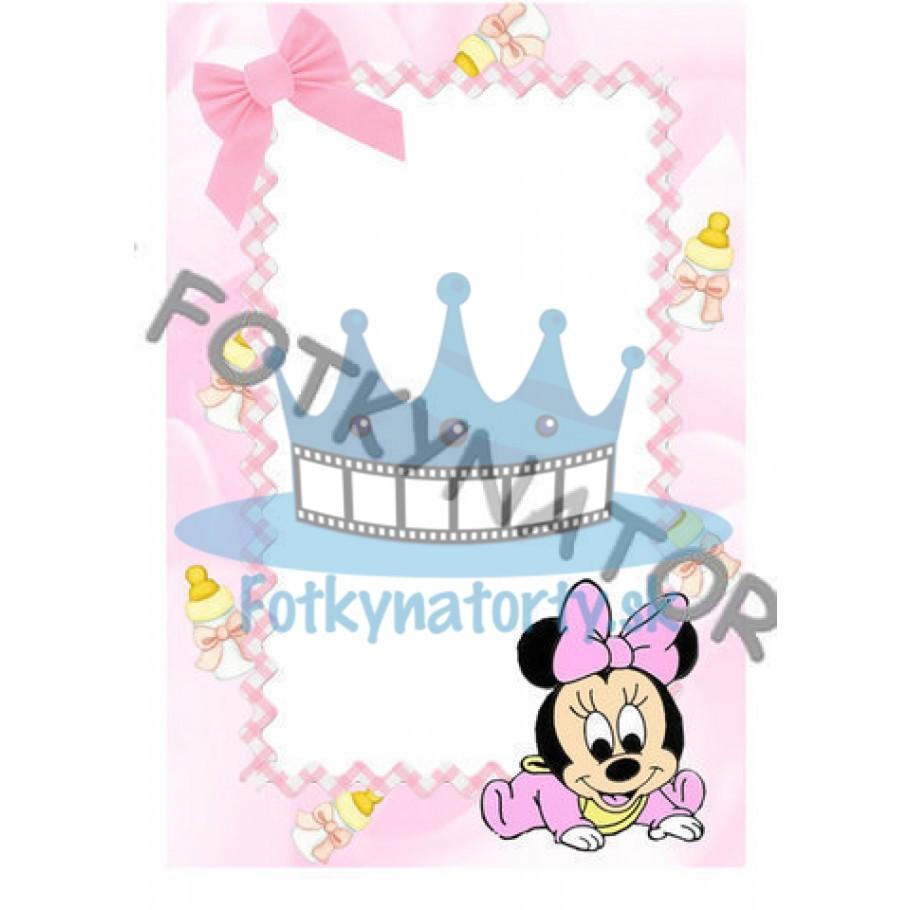 Baby Minnie Fotorámik - jedlý obrázok/ oblátka na tortu / Fotky na torty