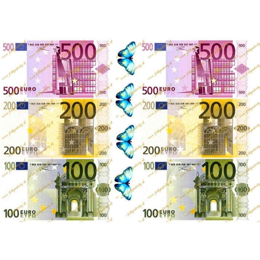 Jedlé peniaze 100, 200, 500 eurobankovky mix