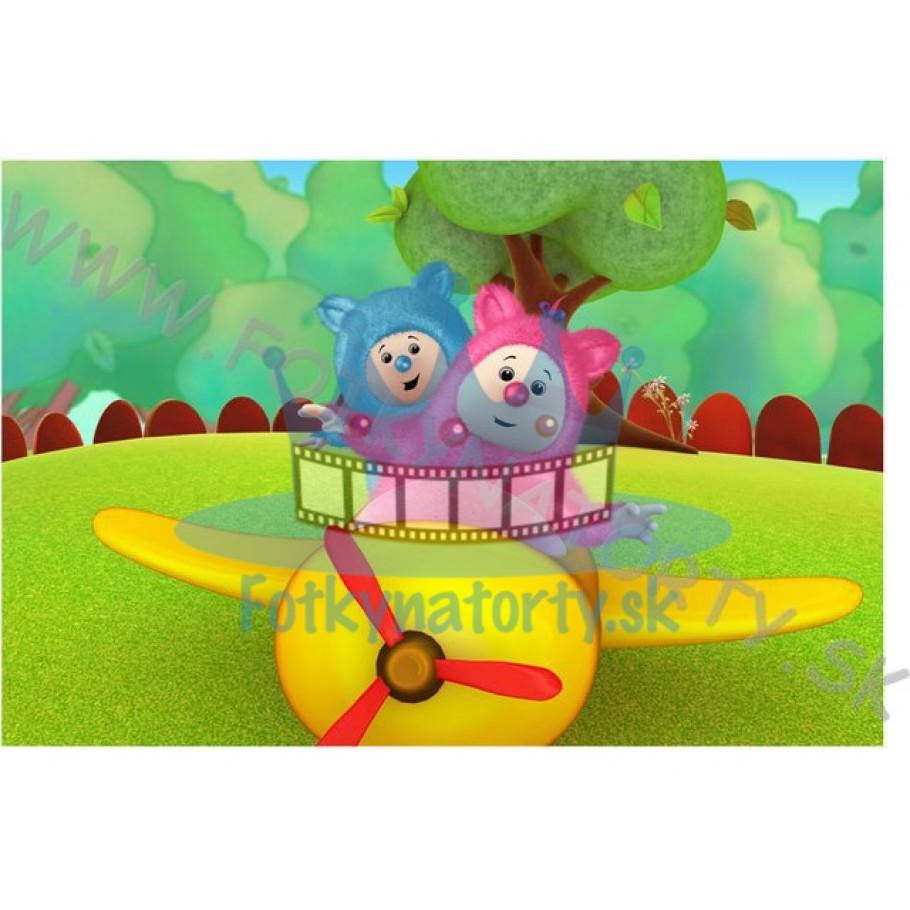 Billy a Bam Bam v lietadle - jedlý obrázok / oblátka na tortu