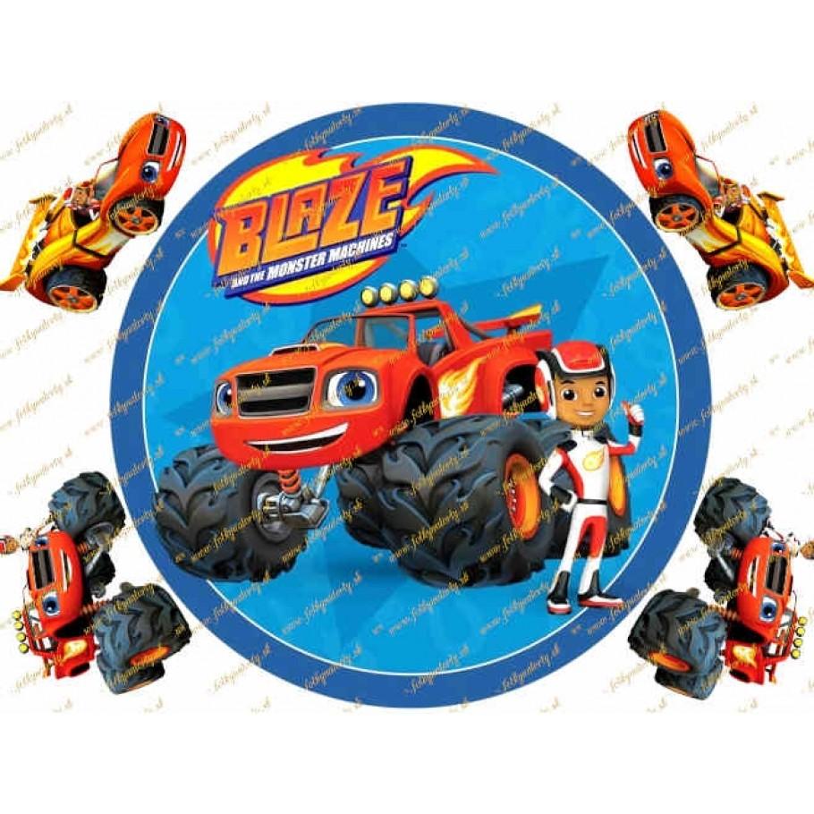 Jedlý okrúhly obrázok na tortu autíčko Blaze Plamienok a štvorkolky