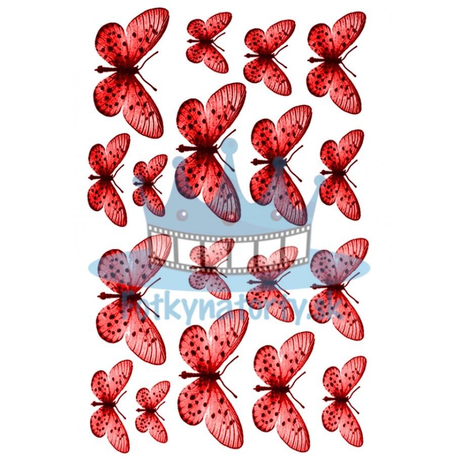 Jedlé obrázky motýle - červené - dekorácie na muffiny, na tortu, zákusky- 18 ks