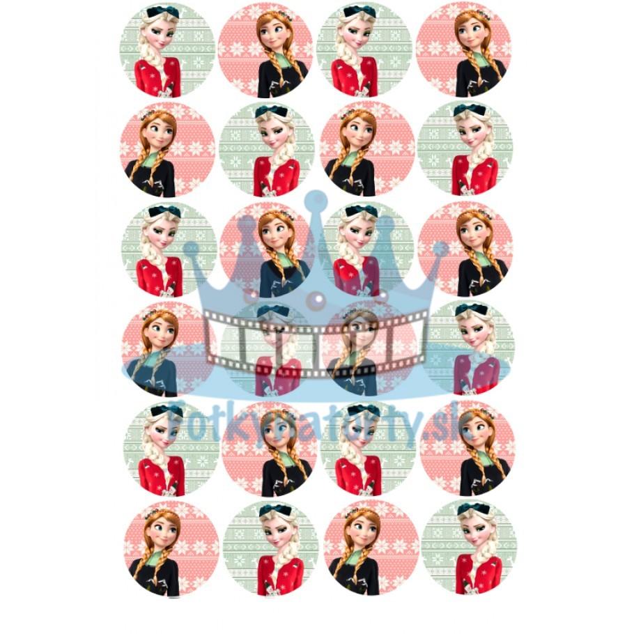 Zimné jedlé dekorácie Anna a Elsa / ľadové kráľovstvo- 24ks- jedlé okrúhle obrázky na vianočné dobrôtky / na tortu / Fotky na torty/ jedlé obrázky na muffiny, na zákusky