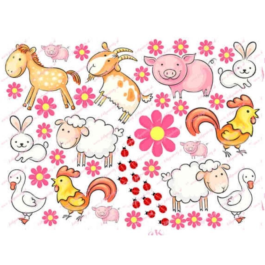 Jedlé zvieratká na farme pre dievčatká